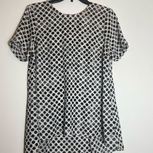 Vince Camuto White Black Short Sleeve Blouse Top